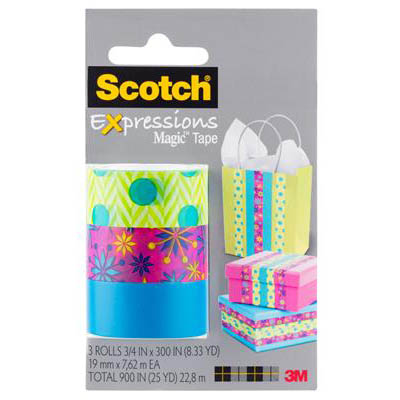 Image for SCOTCH C214 EXPRESSIONS MAGIC TAPE BLUE GREEN/SPARKLE/MEDIUM BLUE PACK 3 from Office National Perth CBD