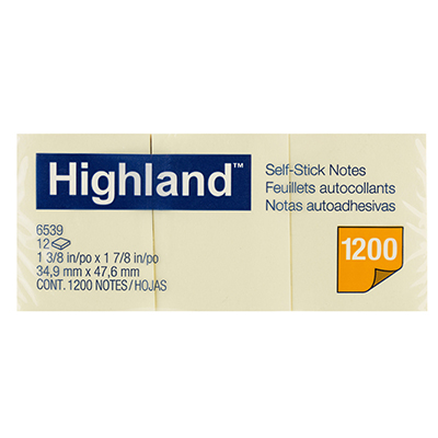 Image for HIGHLAND SELF-STICK NOTES 34.9 X 47.6MM YELLOW PACK 12 from Office National Perth CBD
