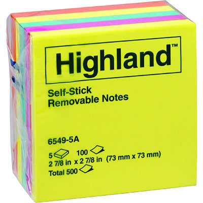 Image for HIGHLAND COLOURED NOTES 100 SHEETS PER PAD 73 X 73MM ASSORTED BRIGHT COLOURS PACK 5 from Coleman's Office National