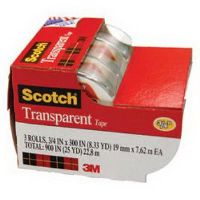 SCOTCH 3157S TRANSPARENT TAPE ON DISPENSER 19MM X 7.6M PACK 3