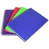 CUMBERLAND COLOURED NOTEBOOK SPIRAL BOUND FEINT RULED 200 LEAF A6 BRIGHT ASSORTED