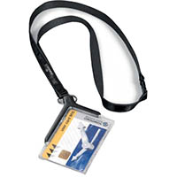 DURABLE CARD HOLDER DELUXE ACRYLIC WITH NECKLACE