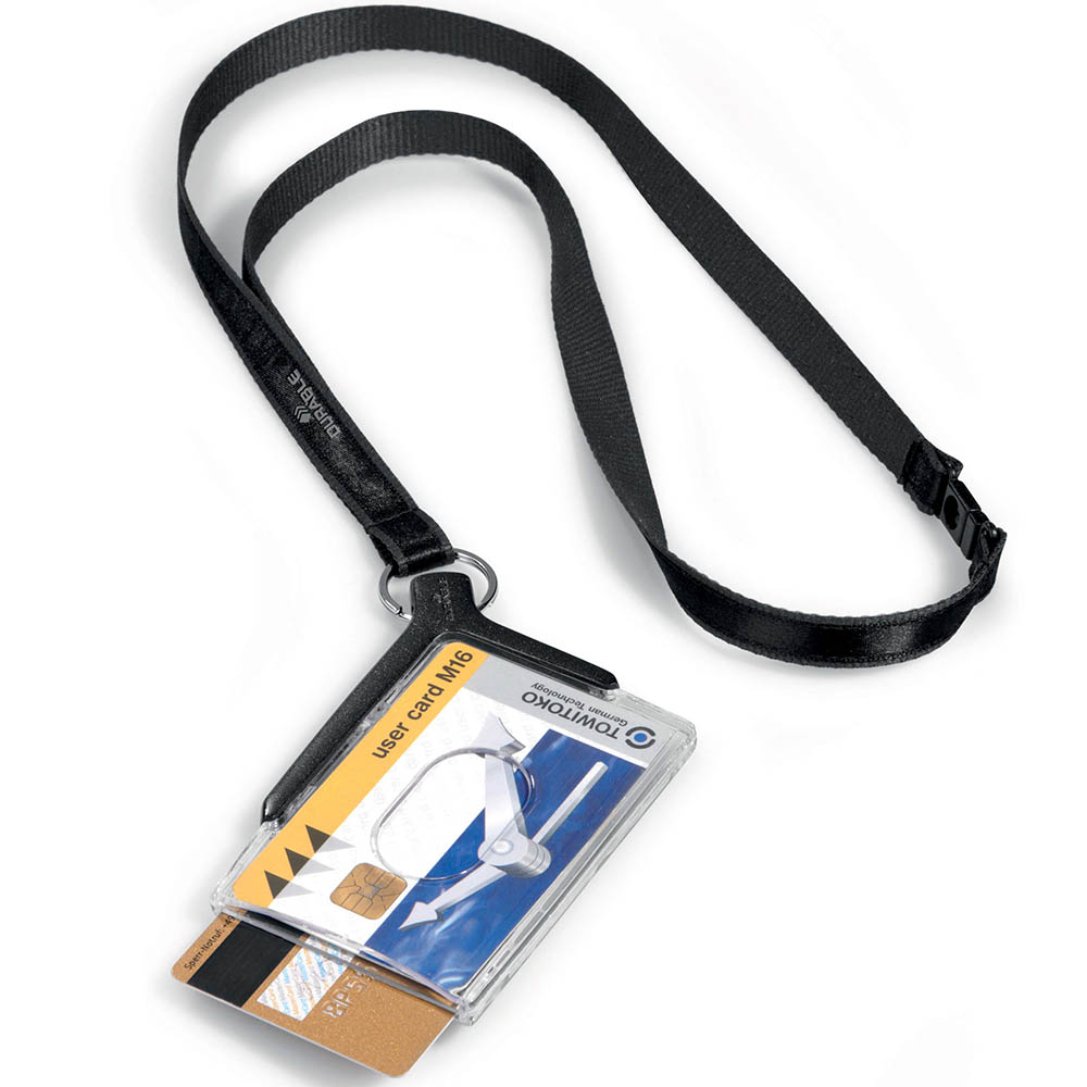 Image for DURABLE CARD HOLDER DELUXE ACRYLIC DUO WITH NECKLACE from Wetherill Park / Smithfield Office National
