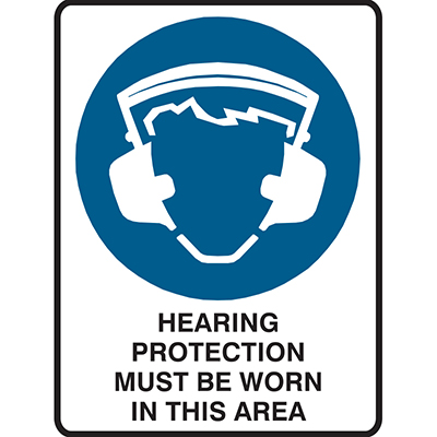 Image for BRADY MANDATORY SIGN HEARING PROTECTION MUST BE WORN IN THIS AREA 450 X 300MM POLYPROPYLENE from Office National Perth CBD