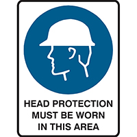BRADY MANDATORY SIGN HEAD PROTECTION MUST BE WORN IN THIS AREA 450 X 300MM POLYPROPYLENE