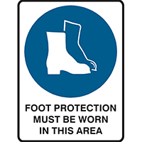 BRADY MANDATORY SIGN FOOT PROTECTION MUST BE WORN IN THIS AREA 450 X 300MM POLYPROPYLENE