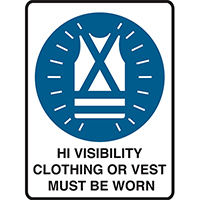 BRADY MANDATORY SIGN MANDATORY SIGN HI VISIBILITY CLOTHING OR VEST MUST BE WORN 450 X 300MM POLYPROPYLENE