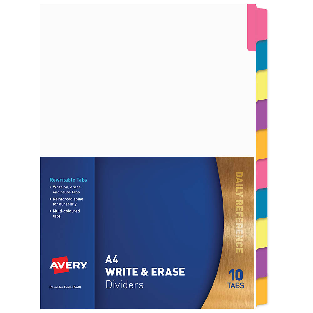 Image for AVERY 85601 DIVIDER REWRITABLE 10 TAB A4 MULTI COLOURED from Office National Perth CBD