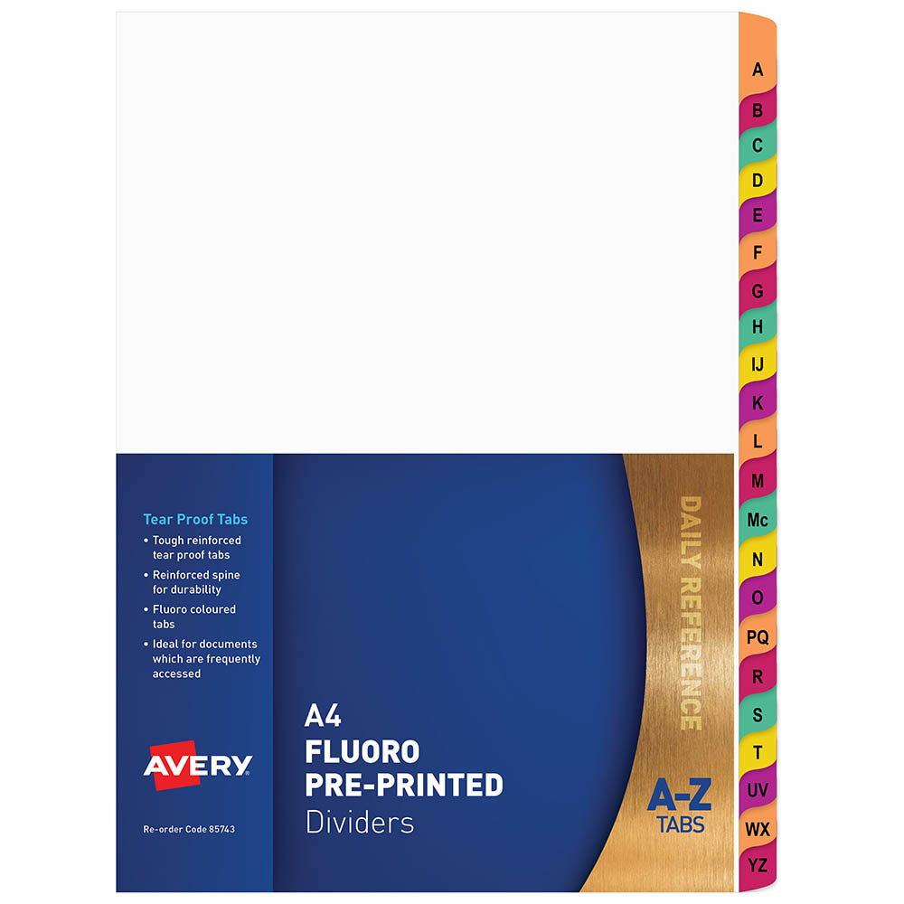 Image for AVERY 85743 DIVIDER PLASTIC A4 A-Z RAINBOW FLUORESCENT TAB from Office National Perth CBD