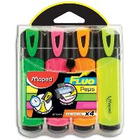MAPED FLUO PEPS HIGHLIGHTER ASSORTED WALLET 4