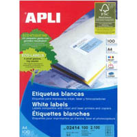 APLI LABELS A4 21UP ROUND CORNERS 63.5 X 38.1MM WHITE 100 SHEETS