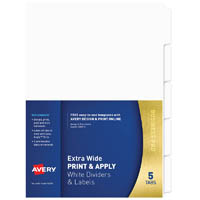 AVERY 930170 L7455-5 DIVIDER EXTRA WIDE PRINT & APPLY 1-5 TAB WHITE