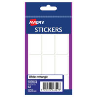 AVERY 932024 MULTI-PURPOSE STICKERS RECTANGLE 24 X 38MM WHITE PACK 63