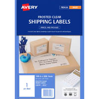 AVERY 936008 J8167 SHIPPING LABEL FROSTED INKJET 1UP CLEAR PACK 25