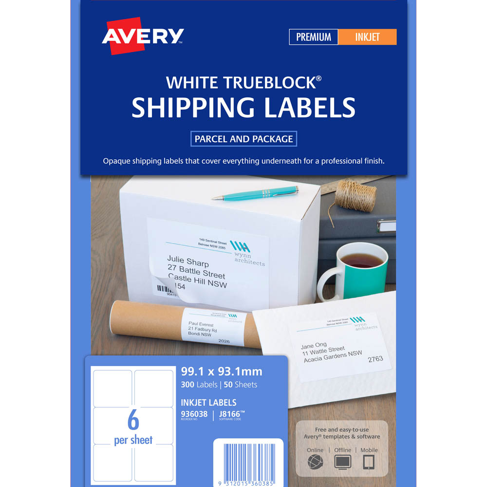avery 936038 j8166 trueblock shipping labels inkjet 6up white pack