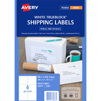 AVERY 936038 J8166 TRUEBLOCK SHIPPING LABELS INKJET 6UP WHITE PACK 50