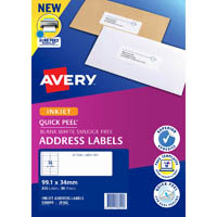 AVERY 936045 J8162 QUICK PEEL ADDRESS LABEL WITH SURE FEED INKJET 16UP WHITE PACK 50