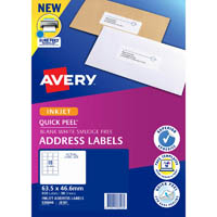 AVERY 936046 J8161 QUICK PEEL ADDRESS LABEL WITH SURE FEED INKJET 18UP WHITE PACK 50