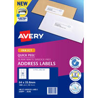 AVERY 936055 J8159 QUICK PEEL ADDRESS LABEL WITH SURE FEED INKJET 24UP WHITE PACK 50