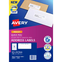 AVERY 936056 J8158 QUICK PEEL ADDRESS LABEL WITH SURE FEED INKJET 30UP WHITE PACK 50