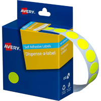 AVERY 937294 ROUND LABEL DISPENSER 14MM FLUORO YELLOW BOX 700