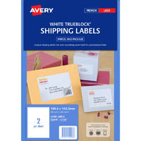 AVERY 952008 L7168 TRUEBLOCK SHIPPING LABEL LASER 2UP WHITE PACK 25