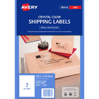 AVERY 959066 L7566 CRYSTAL CLEAR SHIPPING LABEL 2UP CLEAR PACK 25