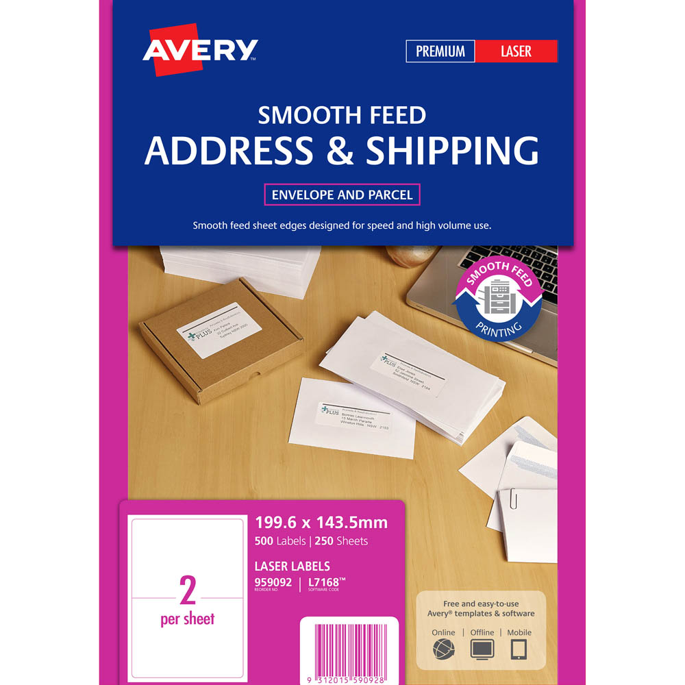 Image for AVERY 959092 L7168 SHIPPING LABEL SMOOTH FEED LASER 2UP WHITE PACK 250 from Our Town & Country Office National