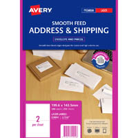AVERY 959092 L7168 SHIPPING LABEL SMOOTH FEED LASER 2UP WHITE PACK 250