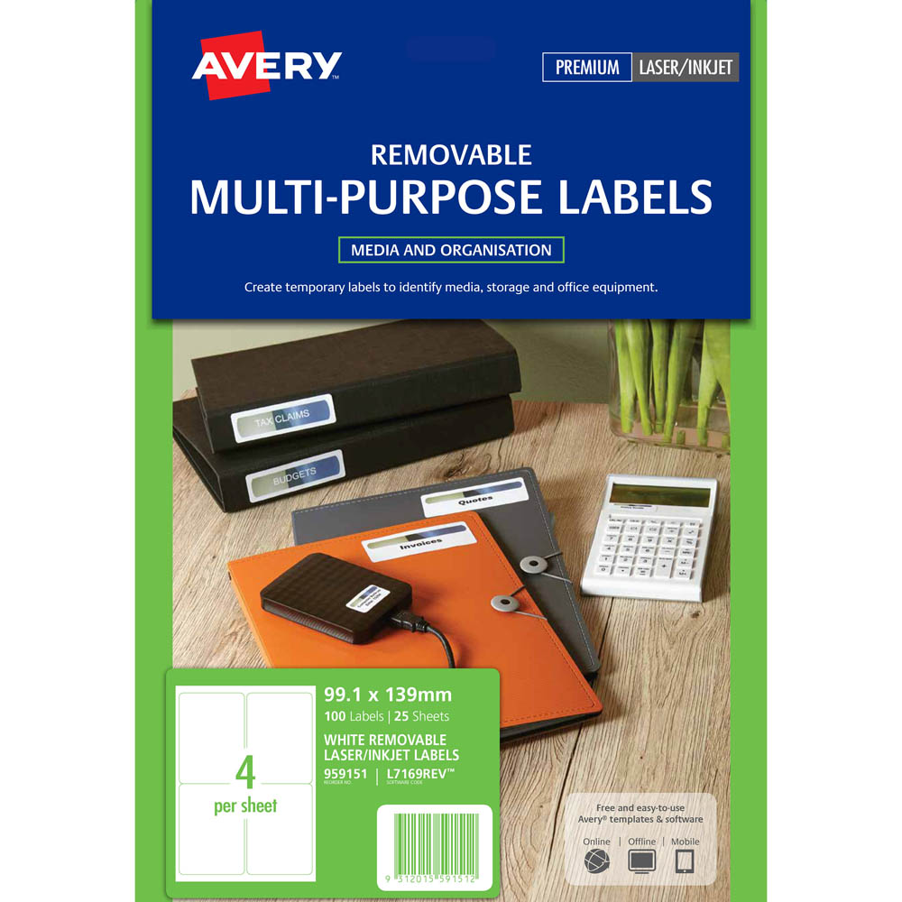 Image for AVERY 959151 L7169REV REMOVEABLE MULTI-PURPOSE LABEL 4UP WHITE PACK 25 from The Paper Bahn Office National
