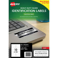 AVERY 959203 L6012 DURABLE METALLIC HEAVY DUTY LABELS SILVER 10UP PACK 20