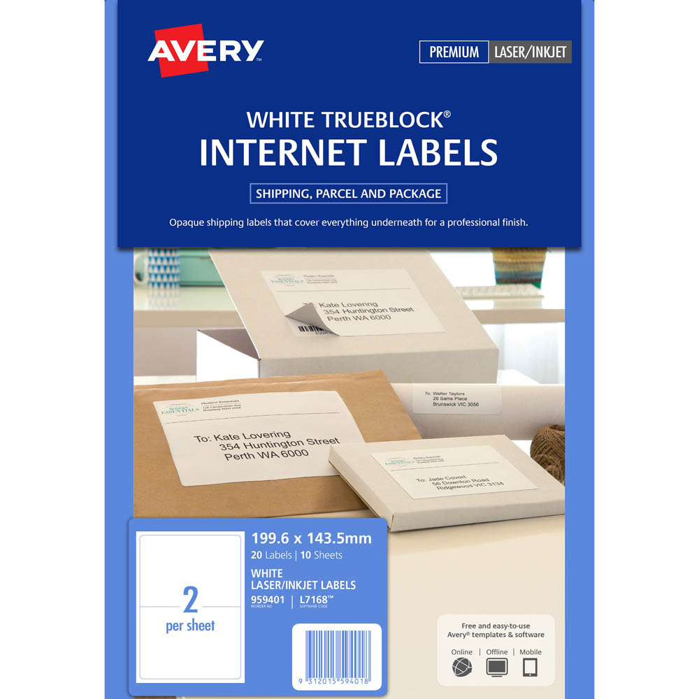 Image for AVERY 959401 L7168 TRUEBLOCK INTERNET SHIPPING LABEL LASER 2UP WHITE PACK 10 from Our Town & Country Office National