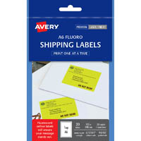 AVERY 959407 L7175 SHIPPING LABEL LASER A6 105 X 148MM YELLOW PACK 25