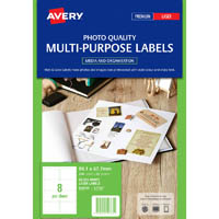AVERY 959765 L7765 MULTI-PURPOSE PHOTO QUALITY LABEL LASER 8UP GLOSS WHITE PACK 20