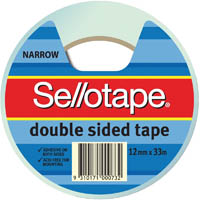 SELLOTAPE DOUBLE SIDED TAPE NARROW 12MM X 33M