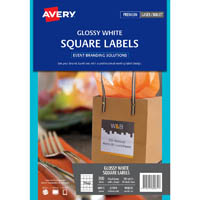 AVERY 980031 L7094 PRODUCT LABEL SQUARE LASER 20UP GLOSS WHITE PACK 10