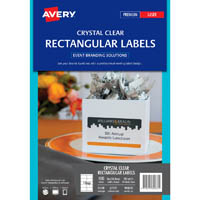 AVERY 980033 L7137 CRYSTAL CLEAR RECTANGLE LABELS LASER 10UP PACK 10