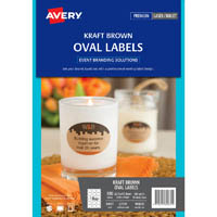 AVERY 980035 L7139 EVENT LABELS OVAL KRAFT BROWN 63.5 X 42.3MM 18UP PACK 15