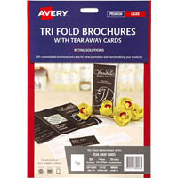 AVERY 980043 16152 TRIFOLD BROCHURE WITH TEAR AWAY CARDS PACK 20