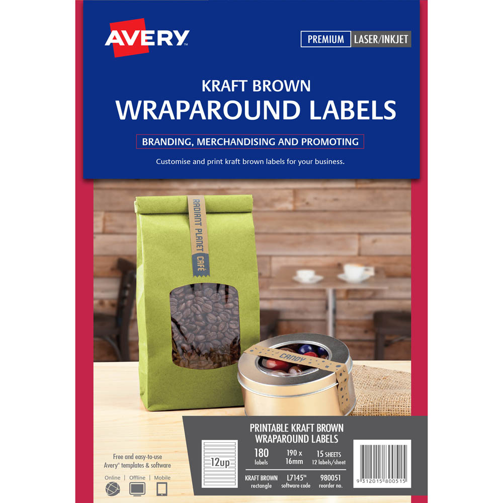 image relating to Avery Printable Stickers identified as Avery 980051 L7145 Labels Wraparound Kraft Brown Pack 180