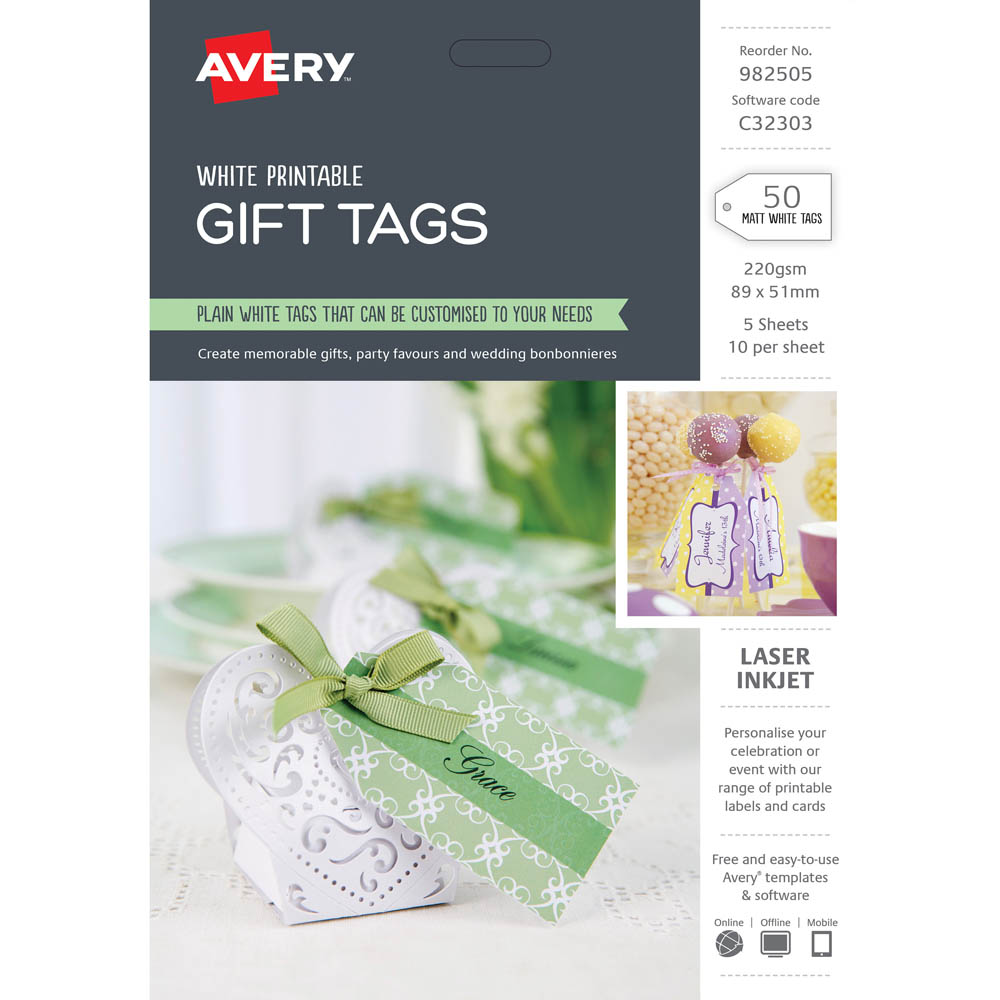 avery 982505 c32303 gift tag pack 50 office national