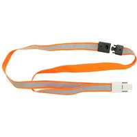 REXEL LANYARD FLAT STYLE ALLIGATOR CLIP RELFECTIVE HIGH VISABILITY ORANGE PACK 5