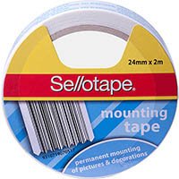 SELLOTAPE PERMANENT DOUBLE SIDED FOAM MOUNTING TAPE 24MM X 2M