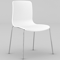 DAL ACTI CHROME 4-LEG CHAIR WHITE