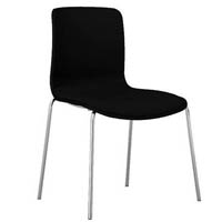 DAL ACTI CHAIR 4-LEG CHROME FRAME FULLY UPHOLSTERED SHELL CHARCOAL FABRIC