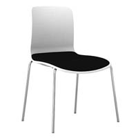 DAL ACTI CHAIR 4-LEG CHROME FRAME WHITE SHELL CHARCOAL FABRIC SEAT PAD