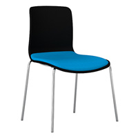 DAL ACTI CHAIR 4-LEG CHROME FRAME BLACK SHELL AQUA FABRIC SEAT PAD