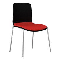 DAL ACTI CHAIR 4-LEG CHROME FRAME BLACK SHELL PINOT FABRIC SEAT PAD