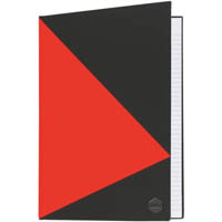 MARBIG NOTEBOOK FEINT RULED HARD COVER CASEBOUND A5 100 LEAF BLACK/RED