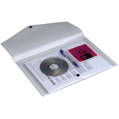Image for MARBIG DOCULOPE WALLET BUTTON CLOSURE AND CD HOLDER FOOLSCAP CLEAR from Paul John Office National